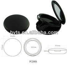 round black color Plastic Pressed powder box