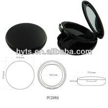 caixa plástica redonda do pó pressionado da cor preta redonda
