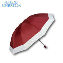 28 Inch 10K Quality Chinese Products Americas Market 3 Fold Large Umbrella Manufacturer with Dots Edge