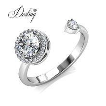 Round High Quality Crystal Open Vintage Adjustable Ring for Women