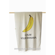 cotton soft textile fruit banana and pineapple with tassels Beach Towel BT-121