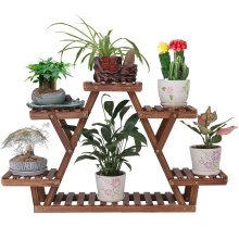 Wood Plant Stand Indoor Outdoor 3 Tier Vertical Carbonized Multiple Planter Holder Flower Ladder Stair Shelf Garden Balcony