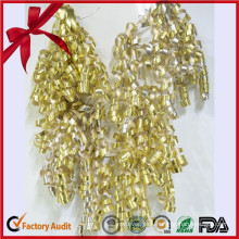 Gold Glitter Metallic Curly Ribbon Bow/Beautiful Fancy Bow for Wedding
