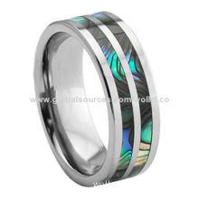 2014 Men's Tungsten Ring, New Product of Abalone, Can be Customized Icons and Logos