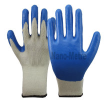 NMSAFETY 10 gauge natural knitted gloves dip blue latex cotton glove china