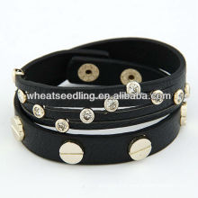 Punk estilo multicamada pulseira de couro envoltura 110301113