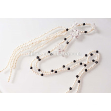 Long Crystal Flower Fresh Pearl Necklace With Tassel