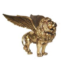 2018 горячей продажи золотой бронзовый крылатый Лев статуя