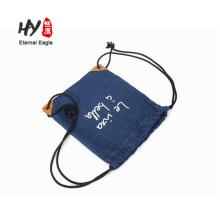 Высокое качество кожа путешествия рюкзак холст шнурок сумки