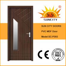 Деревянные двери ПВХ со стеклом (СК-P093)