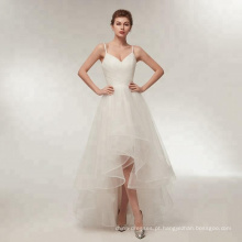 Sereia Vestidos De Noiva Vestidos simples elegante tule strapless vestido de noiva 2018 novo vestido de noiva real rendas para cima