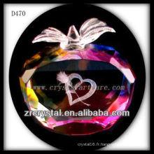 Amour de laser 3D de K9 à l'intérieur de la pomme en cristal colorée