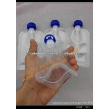 Poche réutilisable de poche de nourriture de bébé / poche de nourriture de bébé / sachet en plastique de nourriture réutilisable de bébé de bec en gros