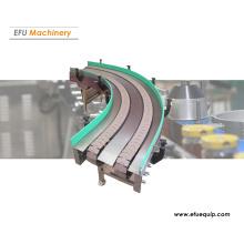 Transportador de placa de corrente curva