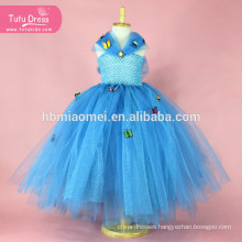 Blue Sequin Girl Cinderella Dress Tulle Butterfly Princess Tutu Dress Kids Party Christmas Halloween Cosplay Cinderella Costumes