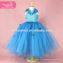 Azul Da Menina de Lantejoulas Cinderela Vestido De Tule Borboleta Princesa Tutu Vestido de Festa de Natal Das Crianças do Dia Das Bruxas Cosplay Cinderela Trajes