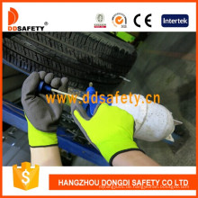 Nylon Polyester Liner Latex Crinkle Schaum Handschuh Dnl418