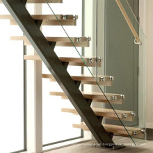 Modern straight staircase with hardwood floor metal railing solid wood stairs for homes
