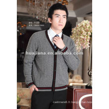 pull Cardigan col V pour hommes / 100% pur Cachemire