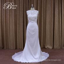 Шелковый Georgeous кружева пляж завод Продажа свадебное платье