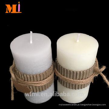 Top Rank fornecedor decoração uso sabor de baunilha COUNTRY STYLE pilar velas cinza em preços de venda