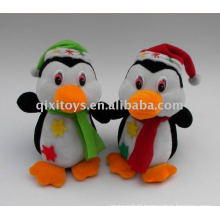 soft stuffed christmas penguin with hat and scarf