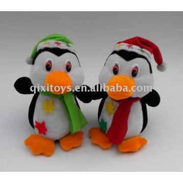 мягкая плюшевая Рождество пингвин с шляпу и шарф