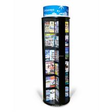 Diseño personalizado Suelo Papelería Publicidad de la tienda Forma redonda de madera Rotary Book Display Stand