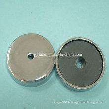 Aimant de ferrite rond avec coupe en métal