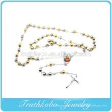 Dois tons de moda de aço inoxidável Bead orando mãe Mary religiosa Jesus cruz charme colar com revestimento a vácuo de jóias de ouro