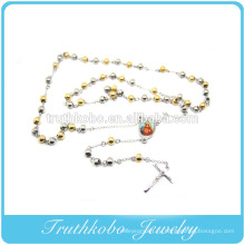 Два тона мода из нержавеющей стальной шарик молился матери Марии религиозные крест Иисуса Шарм ожерелье с плакировкой вакуума золота ювелирных изделий