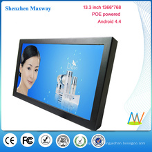 POE powered 13,3 Zoll 1366 * 768 Wandhalterung Android Tablet POE Android-Version 4.4