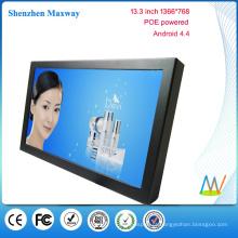 POE powered 13,3 polegadas 1366 * 768 parede de montagem android tablet POE android versão 4.4