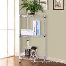 3 Layers of stainless steel metal corner shelfives