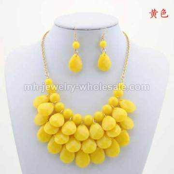 Round And Tabular Acrylic Beads Layers Handmade Big Chain Necklace