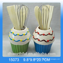 Kitchen ornament ceramic utensil holder in icecream shape