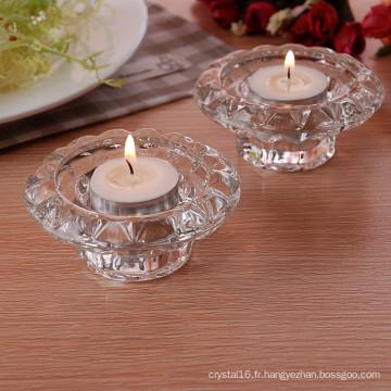 Titulaire simple de photophore en verre de cristal pour la décoration à la maison