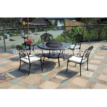 Mesa de barbacoa al aire libre y sillas muebles de jardín de aluminio