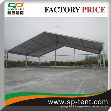 European structure Marquee with a pointed roof and half of an 10m octagon tent at two ends