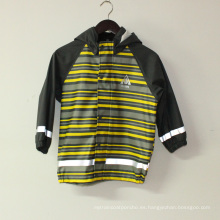 Chaqueta de lluvia reflectante de la PU de Yellowi Stripe Light para niños / bebé