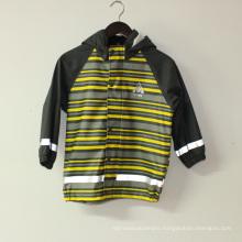 Light Yellowi Stripe PU Reflective Rain Jacket for Children/Baby