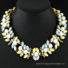 Top sell gem pearl metal fashion necklace best collar necklace