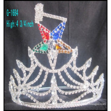 2016 El rhinestone grande de la corona de la tiara de la nueva manera al por mayor stars la corona de encargo del rey