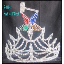 2016 Vente en gros Nouvelle mode grand étoiles de strass de couronne de tiare royale personnalisée