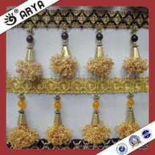 Cortina de accesorio accesorio de franja de poliéster pompom