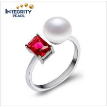 Anillo de perlas redimensionable Anillo de perlas de plata de 925 anillos de 8-9 mm de botón AAA de perlas de mujer