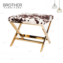 Good Quality Upholstered wooden Stool french ottoman / velvet bench