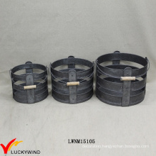 Set 3 Galvanized Zinc Round Industrial Storage Basket