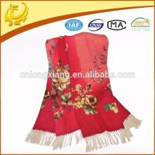 Kashmir New Fashion Style Garn gefärbt handgefertigte 100% Wolle bedruckte Schal mit langer Quaste