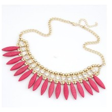 Bohemia Style fashion crystal resin turquoise studded fashion short necklace gold plating metal chokers